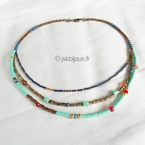 collier perles heishi multirang turquoise